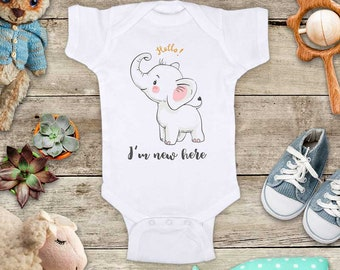 Hello I'm new here baby elephant (2) cute Baby bodysuit - baby shower gift baby birth pregnancy announcement