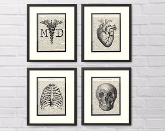 Gift For Doctor - Set of 4 Art Prints - MD, Heart, Chest, Skull over Vintage Medical Book Pages - Doctor Graduation Gift, Medical Office