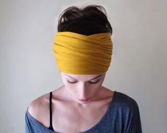 MUSTARD YELLOW Boho Head Scarf - Bohemian Headband - Goldenrod Headband - Dark Yellow Boho Hair Wrap, Extra Wide Jersey Headband