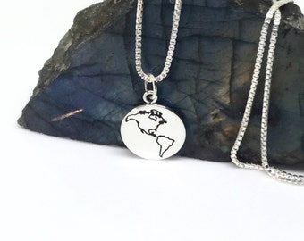 World map necklace etsy world map necklace sterling silver world map charm silver pendant small charm silver world charm sterling gumiabroncs Image collections