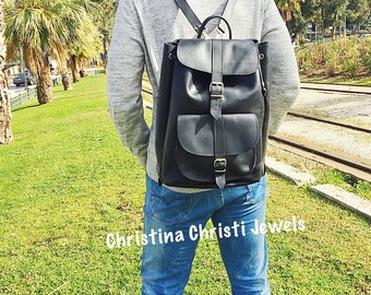 Laptop Backpack, Office Bag, Black Leather Backpack Men, Laptop Bag, Made in Greece from Full Grain Leather, EXTRA LARGE.