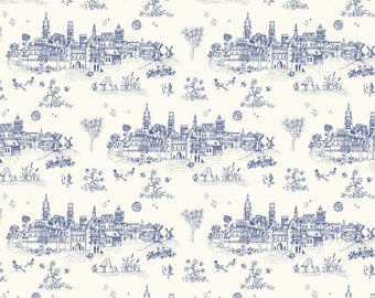 Blue Toile Print Fabric, Medieval Houses and Birds Fabric | Soft cotton quilt fabric, blue and cream digital print toile fabric with birds.