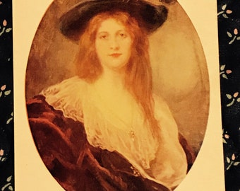 Vintage 1970s Portrait Postcard, Her Ladyship, Beautiful Lady With Red Hair, Hat And Cape, Vintage Post Card Collectible.
