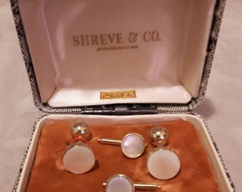 Vintage Shreve and Co. Cufflinks and 2 Tie Tacks - 14kt Gold Filled and Mother of Pearl (MOP) - 1940s