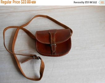 ON SALE Vintage Small Leather Bag ,Brown Leather Purse ,crossbody bag , crossbody purse, brown leather bag , leather tote , leather handbag
