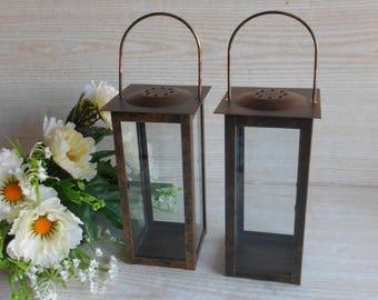 Set of 2 Vintage Lantern,  Rustic Lighting,  Antique Brass Lantern, Metal  Lantern, Candle Holder, Home Decor