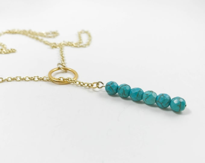 Featured listing image: Gold and Turquoise Beaded Lariat Necklace