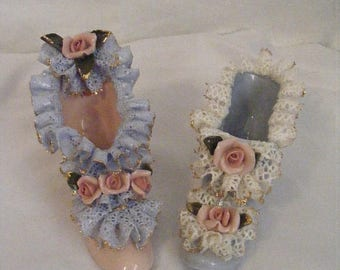 Store Wide Sale Pair of Porcelain Slippers Blue and Pink