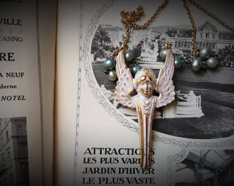 Art Nouveau Angel Necklace.  MissShugsJewelryShow.