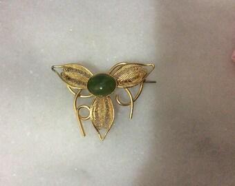 Vintage Jade filigree  Brooch