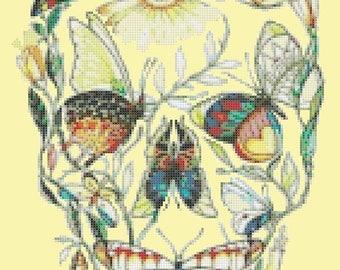 Sugar Skull cross stitch Sugar Skull Pattern needlecraft needlepoint canvases -138 x 199 stitches- INSTANT Download - B1399
