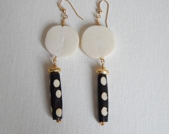 Bone bead dangle earrings with gold accents, black and white bone bead, handmade jewelry, bohemian style, rustic jewelry, tribal jewelry