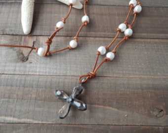 Leather and pearl cross necklace, boho style, beach boho, festival chic, leather and pearl necklace, hand knotted leather with pearls