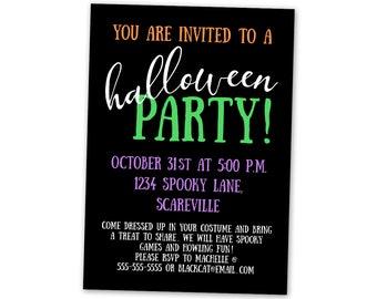 Halloween Party Invitation - Announcement Invite Card Digital Customized Custom All Hallows Saint Eve Black Purple Orange Simple Modern