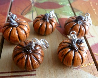 Pumpkin Charm Halloween Jewelry Phone Charm Autumn Miniature Food Jewelry Polymer Clay Pumpkin Charm