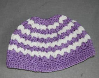 Chevron Ponytail - messy bun crochet hat