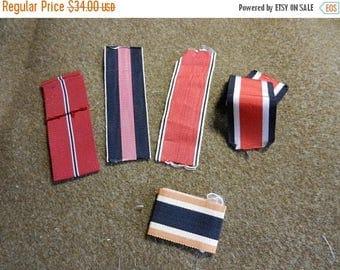 Summer Sale 5 Vintage WW2 Military Medal Ribbons