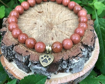 Love my dog- Gold Sandstone(8mm) Bracelet-Oliver Grey Jewelry - Puppy Charm - Stacking Bracelets - Gemstone Bracelet - Earthy Jewelry