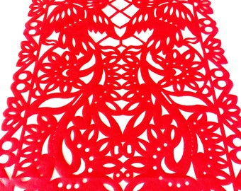 Papel picado table runner, bright red synthetic fabric, fiesta decorations, Mexican party supplies, talavera lace design