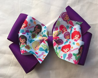 Mermaid Hair Bows. Little Mermaid Hair Bows/purple hairbows with mermaids