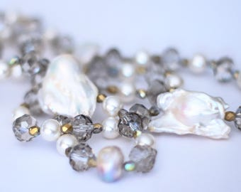 Natural freshwater pearls necklace with pearls and Crystals British, Scaramazze