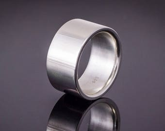 925 Silver band ring (12 mm width)