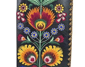 Lavishy Bohemian Colorful Flower Arrangement Embroidered Beautiful Large Wallet