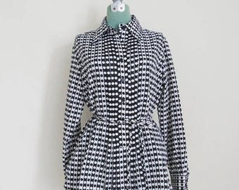 ON SALE Vintage Mod Tunic - 1970's Black and White Polka Dot Blouse by King James California - Pintucked Ruffles - Polyester - Size Large