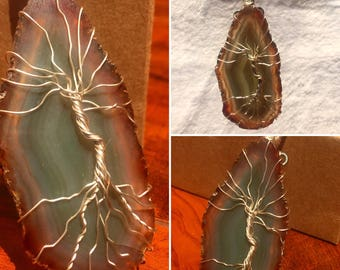 Agate tree of life wire wrapped