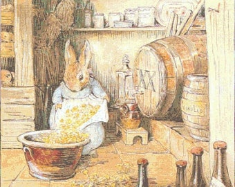"rabbit in cellar by potter - counted Cross Stitch Pattern chart pdf format krosssaumur mynstur - 21.36"" x 18.93""  - L1365"