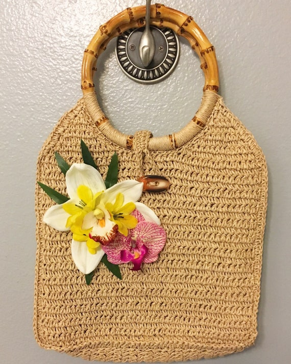 Vintage & Retro Handbags, Purses, Wallets, Bags Woven straw bamboo handle handbag with tropical orchid flowersWoven straw bamboo handle handbag with tropical orchid flowers $16.00 AT vintagedancer.com
