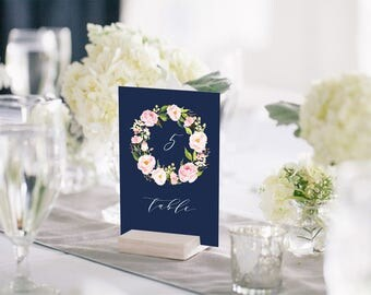 Peony Wreath Navy Blue Wedding Table Number Template, Printable Pink Floral Wedding Table Number Card DIY Editable PDF, Instant Download#108
