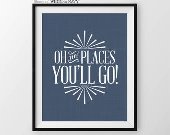Navy Blue Nursery Decor Oh The Places Youll Go Boys Nursery Quote Baby Boy Nursery Wall Decor Boys Quote Nursery Wall Art Boys Nursery