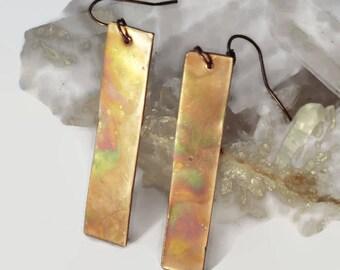 Flame painted earrings, copper earrings, flame painted copper, bohemian earrings, rustic earrings, boho earrings, handmade earrings.