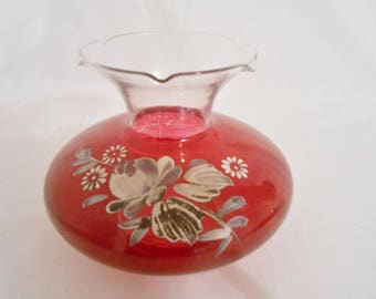 Floral Vase Ruby Red Stained Glass Fluted Vase - Hand Painted Floral
