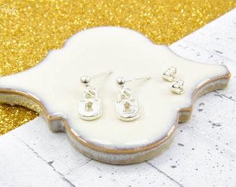 Sterling Silver padlock earrings, silver padlock, padlock pendant, earrings padlock, little padlock, small silver