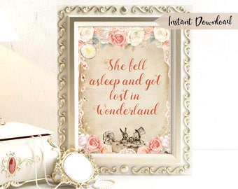 Alice in Wonderland Quote Printable Wall Art Nursery Wall Art Lewis Carroll Quote She Fell Asleep and got lost in Wonderland