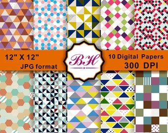 Geometric Digital Paper, Colorful Pattern Backgrounds, Geometric Scrapbooking Paper, Honeycomb, Hexagon, Triangle, Square--10 Digital papers