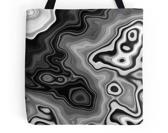 Black and White Tote Bag, Agate Inspired Tote Bag, Agate Bag, Black and Gray Bag, Agate Tote Bag, White Black Bag, Abstract Black Bag, Gray