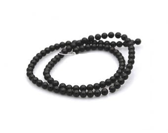 100 beads of black Agate round 4mm