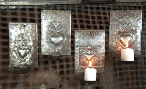"Limited Edition-Irregular Heart Wall Sconce Candle Holder, Haiti 4"" x 6"" x 3"" (candles not included)"