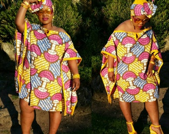 Multi colour  african print off shoulder sweet kaftan.