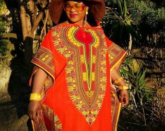 African print dashiki mid kaftan