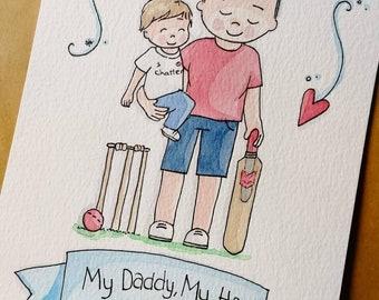 "6"" x 8"" Daddy Portrait Original Watercolour Illustration"