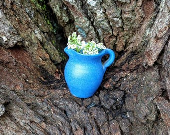 Periwinkle Blue Pottery Creamer Pitcher
