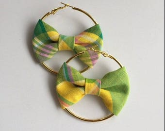 Green madras earring & Creole Gold 6,8cm