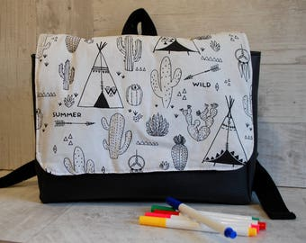 Coloring - school bag faux leather and cotton