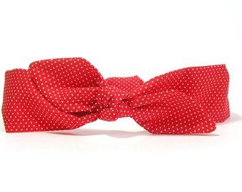 Red cotton headband with white dots by Tricotmuse