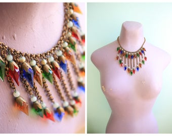 Vintage 1930's Multi Colored Glass Statement Necklace  | Size OSFM