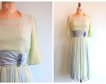 Vintage 1950's Sea Glass Silk Chiffon Party Dress | Size Small